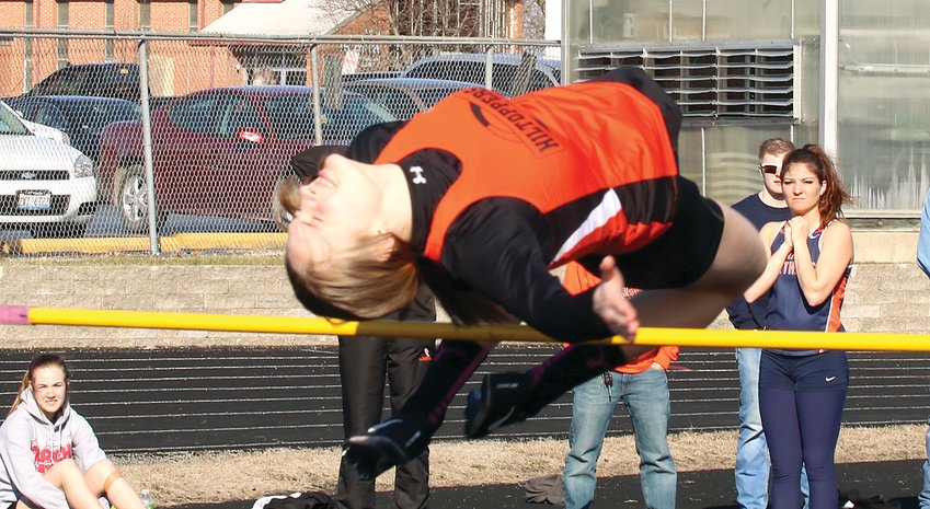 "Hillsboro's Ashlyn Papin led the Hiltoppers sweep of the top two positions in the high jump at the Litchfield Relays on Friday, March 22. Papin cleared 4'10"" to take the top spot, while her sister, Kaci Papin, was second and also cleared 4'10""."