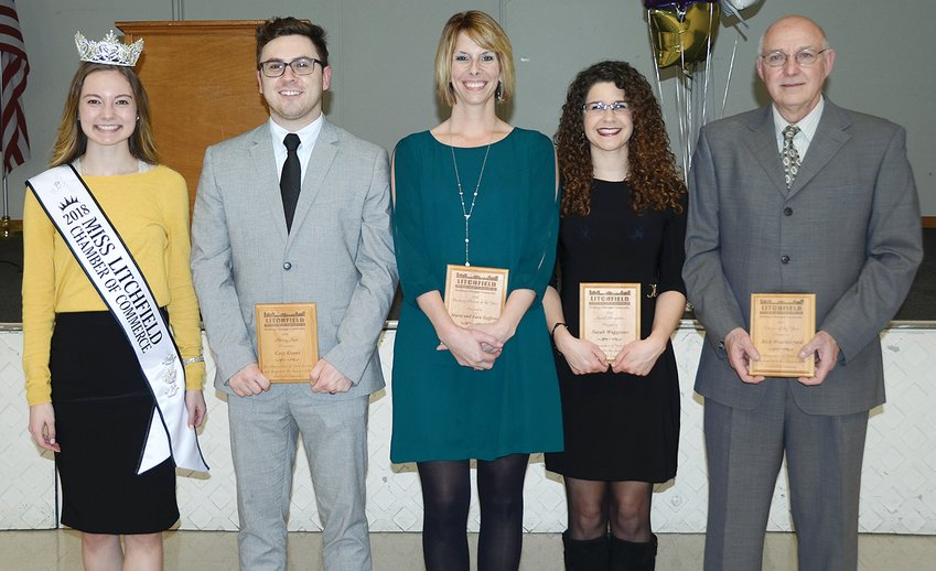 Winners of this year's Litchfield Chamber of Commerce 72nd annual awards dinner, from the left are 2018 Miss Litchfield Chamber of Commerce Andrea Priddle, Rising Star Award winner Cory Evans, Business Person of the Year Kara Steffens, Special Recognition Award winner Sarah Waggoner and Citizen of the Year Rick Weatherford. Business Person of the Year Award winner Marty Steffens was not present for the photo.
