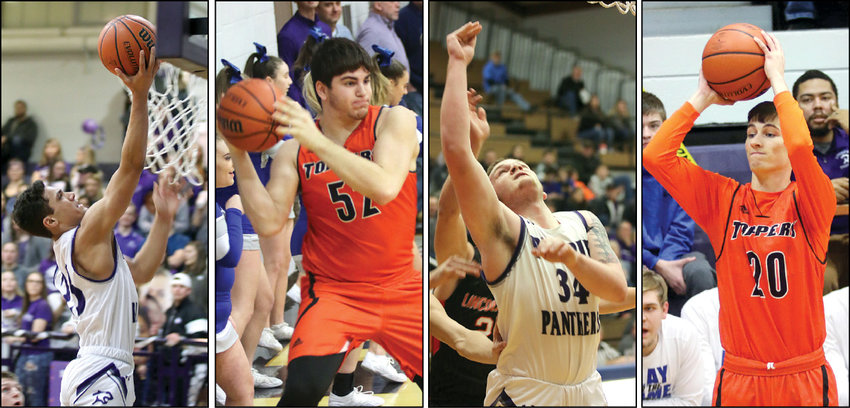 Four Montgomery County basketball players earned all-conference recognition from the coaches of the South Central Conference this basketball season. From the left are Sam Painter, Jordan Gregg, Ethan Washburn and Keaton Pruett.      Journal-News Photos