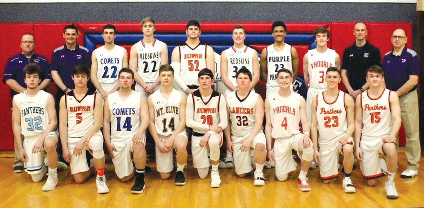 Above are members of the East boys basketball all-star team who competed in the Carlinville Rotary all-star game on Sunday, March 24. In front, from the left, are Sam Mount, Landon Carroll, Brock Nelson, Quintin Kosowski, Keaton Pruett, Dade Pitchford, Blake Barth, Jared Beyers and Jack Armstrong. In the back row are Coach Chris Baugher, Coach Drew Logan, Chad Stearns, Isaiah Bruder, Jordan Gregg, Trevor Wright, Sam Painter, Blake Morrison, Coach Brent Stewart and Coach Dwight Garrels.