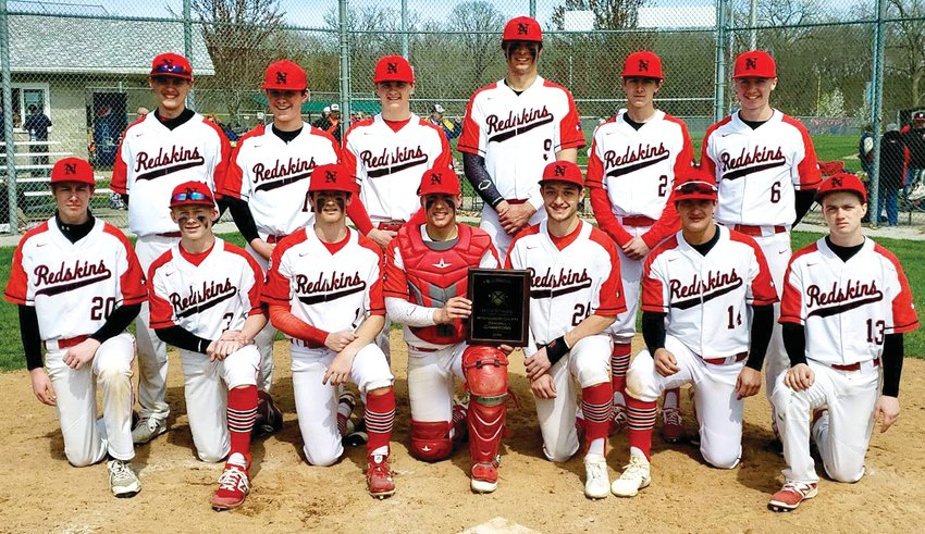The Nokomis High School baseball team picked up a pair of wins over Morrisonville and Hillsboro to win the 2019 Montgomery County Baseball Tournament on Saturday, April 13, in Hillsboro. Team members, in front, from the left, are Marc Grigoroff, Landon Engelman, Evan Herpstreith, Ryan Janssen, Alex Tosetti, Drew Masset and Adam Lyons. In the back row are Nick Mascher, Cooper Bertolino, Quinten Jamieson, Carter Sabol, Benny Clavin and Jake Johnson.