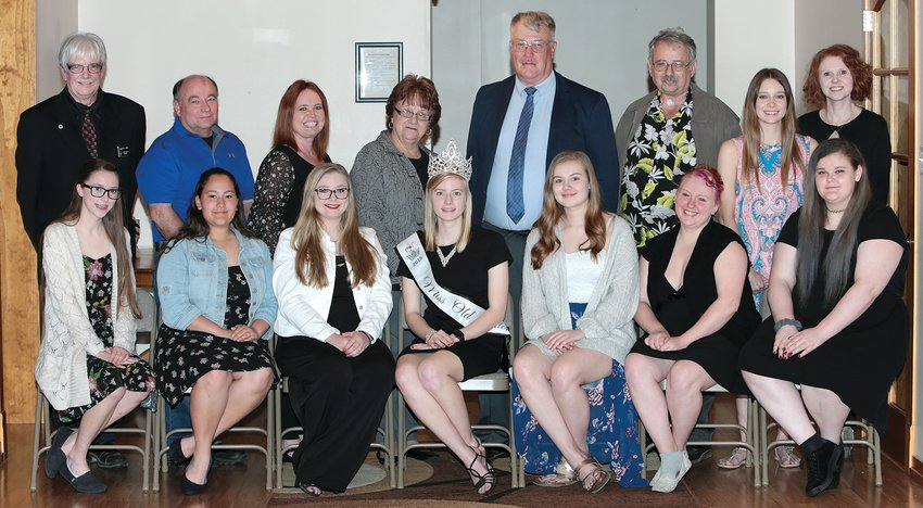 Seven young ladies will be competing for the title of Old Settlers Queen this summer, and they were introduced at the kick-off event, held Tuesday, April 30, at the Challacombe House in Hillsboro. Pictured above, in front, from the left are Caitlyn Howard, Erin Moore, Morgan Schaake, 2018 Old Settlers Queen Kelly Jansen, Malorie Scurlock, Brianna Stephens and Josie Havens.In back are Charlie Page of the Hillsboro Masonic Lodge, Bill Clinard of the Hillsboro Lions Club, Melanie Sherer of Imagine Hillsboro, Blanche Martin of Gold Mine Gaming, Steve Cullison of the Hillsboro Rotary Club, Virgil Seamon of the Hillsboro Moose Lodge and Miranda Lovett and Lisa Casterline of CTI.