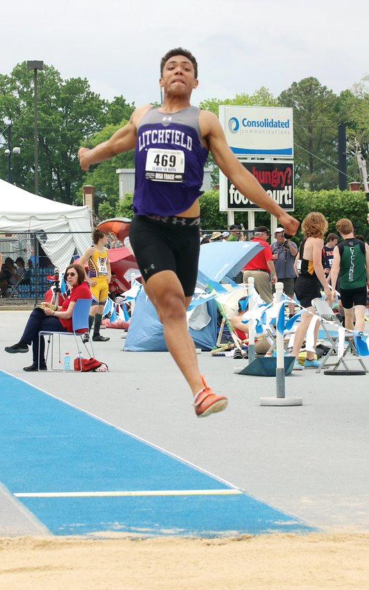 Litchfield's Sam Painter had three solid jumps in the long jump at the IHSA Class 1A State Finals at O'Brien Stadium on the campus of Eastern Illinois University on Thursday, May 23, but unfortunately the Illinois Wesleyan-bound senior fouled on all three. Still, Painter achieved something most first-year jumpers can only dream of, making it to state in two events, having competed in the triple jump as well.