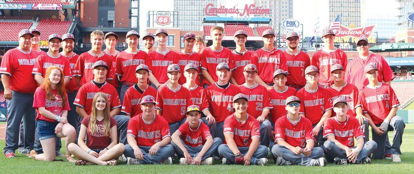 The name on the outside said Busch Stadium, but for the Morrisonville/Lincolnwood baseball team, their venue for June 6th's game against Vandalia might as well have been called the field of dreams. Getting the opportunity to be a part of the day on the big league field, in front, from the left, were Cameron Krager, Dade Pitchford, Christian Tapia, Jhett Walker, Colton Tischkau and Austin Gwinn. In the second row are Stephanie Perun, Cole Sidwell, Braxton Schmedeke, Ruger Brown, Wyatt Spurgeon, Evan Hopper, John Wolf, Kaden Weakley, Cade Bethard, Jhadyn Walker and Luke Webb. In the back row are Coach Mark Ferrill, Coach Bob Montgomery, Coach Jamie Ferrill, Coach Landon Ferrill, Isaac Ferrill, Andrew Skinner, Will Jenkins, Coach Adam Sullivan, Kyle Bloome, Dalton Thomas, Lucas Reznicek, Sam Herman, Shawn Goebel, Michael Jones, Grant Jones, Devin Brown and Coach Josh Stone.