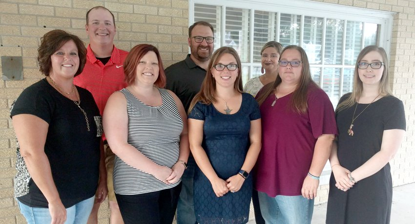 New staff at Coffeen and Hillsboro High School, from the left, are Amy Knodle, Evan Malloy, Lacey Heldebrandt, Tony Marcolini, Coral Christian, Jamie Trader, Gina Currie and Carli Keown.
