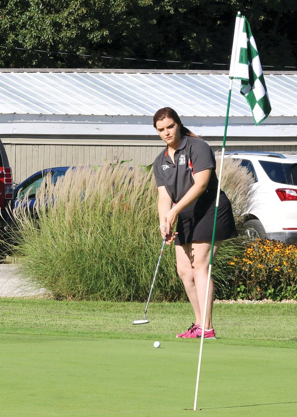 Erin Kistner, shown here during the Toppers' match in Litchfield on Tuesday, Aug. 27, earned medalist honors in Hillsboro's home opener, shooting a 51 to tie Pana's Anna Beyers. Kistner and crew would finish second in the triangular with a 234, while Staunton (228) was first and Pana (251) was third. Journal-News/Kyle Herschelman