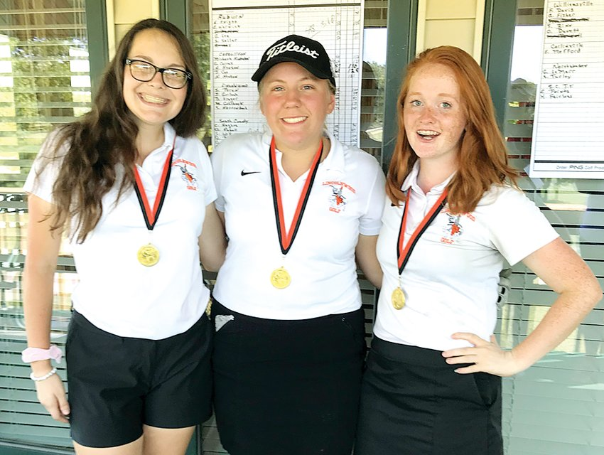 Three Lincolnwood golfers finished in the top ten individually at the Lady Viper Open at Terry Park Golf Course in Palmyra on Saturday, Sept. 14. From the left are Dorie Krager (fourth with a 92), Jordyn Gerlach (9th with a 99) and Stephanie Perun (10th with a 100).