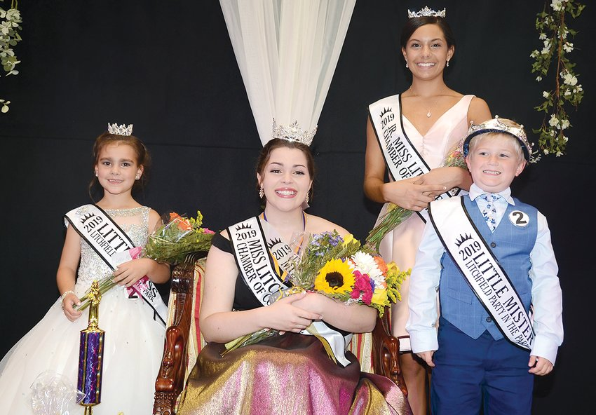 Four pageants highlighted this year's Party in the Park celebration on Saturday evening, Sept. 21, in Litchfield. Due to the threat of inclement weather, the pageants were moved to the Litchfield Community Center. Pictured above are this year's winners, including, from the left, 2019 Little Miss Party in the Park Olivia Rogers, 2019 Miss Chamber of Commerce Alia Stewart, 2019 Junior Miss Chamber of Commerce Kendall Stewart and 2019 Little Mister Party in the Park Emrik Witt.
