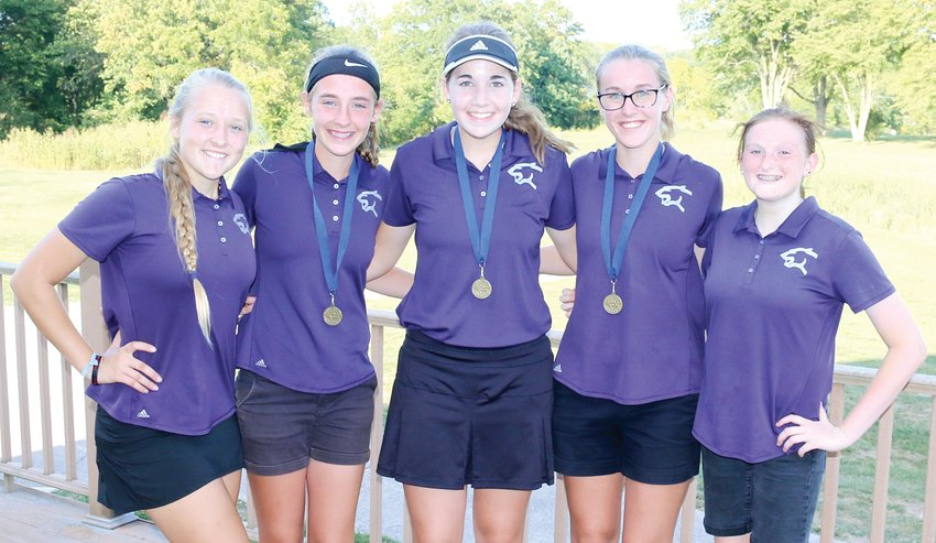 For the first time in the program's history, the Litchfield High School girls golf team won the South Central Conference Tournament, shooting 401 to win by 37 strokes. From the left are Jordan Ramey, Hailey Rentz, Laura Boston, Carly Guinn and Alyssa Loyd.