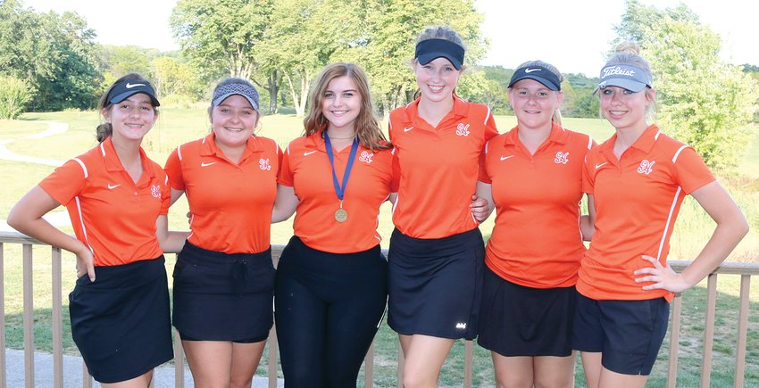 The Hillsboro girls golf team finished third overall at the South Central Conference Tournament on Monday, Sept. 30, at Indian Springs Golf Course near Coffeen. From the left are Aurelie Granito, Felisity Luevano, Erin Kistner, Alex Frailey, Anna Colwell and Meagan Jorn.