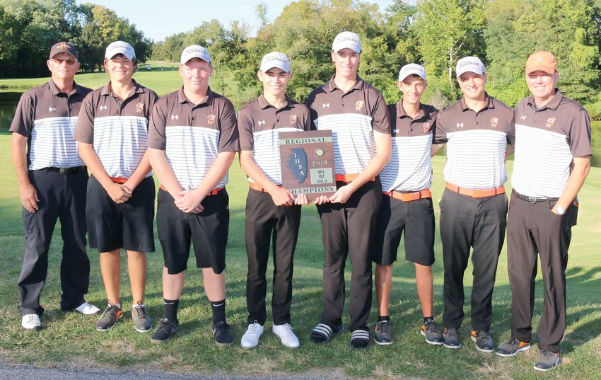 For the fourth year in a row, the Hillsboro High School boys golf team finished atop the regional tournament standings, shooting a 310 at Spencer T. Olin Community Golf Course on Monday, Oct. 7. From the left are Assistant Coach Jim Luckett, Gunnar Micnheimer, Owen Malloy, Alex White, Alex Eickhoff, Dane Huber, Wilson Hamby and Head Coach Jeff Eickhoff.