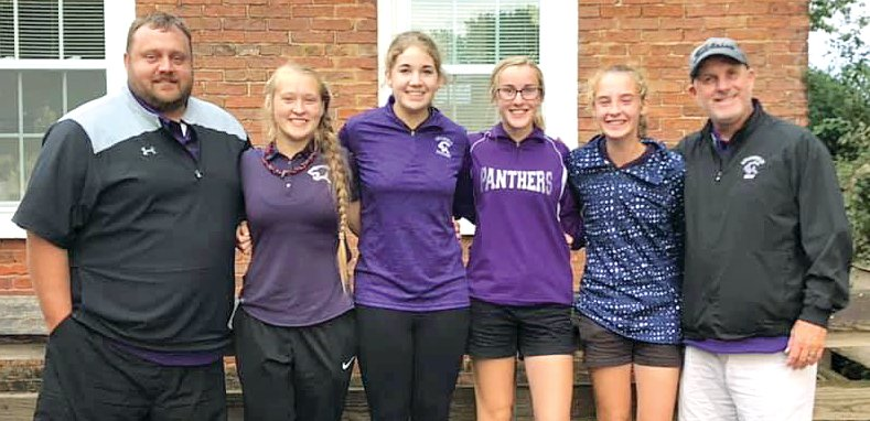 Litchfield golfers Laura Boston and Carly Guinn both finished in the top ten of golfers not on an advancing team at the Williamsville Regional on Thursday, Oct. 10, to earn a spot in the sectional on Monday, Oct. 14. Members of the Litchfield golf team at regionals, from the left, were Coach Justin Ripley, Jordan Ramey, Laura Boston, Carly Guinn, Hailey Rentz and Coach Dan Newkirk.