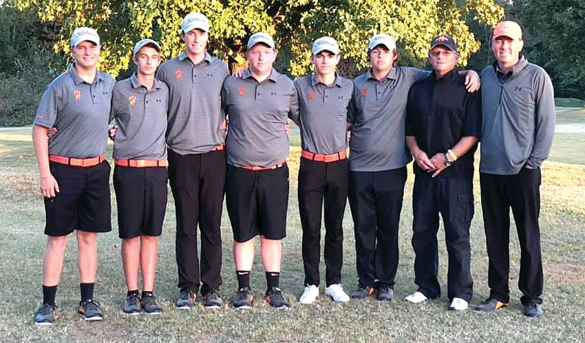 The Hillsboro boys golf team finished fourth at the sectional in West Frankfort on Monday, Oct. 14, shooting a 310 as a team. From the left are Wilson Hamby, Dane Huber, Alex Eickhoff, Owen Malloy, Alex White, Gunnar Micnheimer, Assistant Coach Jim Luckett and Head Coach Jeff Eickhoff.
