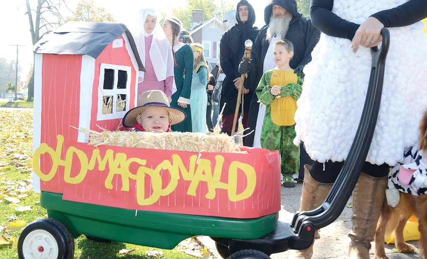 Eleven-month-old Harrison Polkowski of Litchfield celebrated his first Halloween in style, riding as Old McDonald in this year's Litchfield Chamber of Commerce Halloween parade on Sunday afternoon, Oct. 27. He was in the parade with his parents, Bruce and Courtney Polkowski and their furry friends, Maple and Piper. The parade had originally been scheduled for Saturday, but was moved to Sunday due to inclement weather.