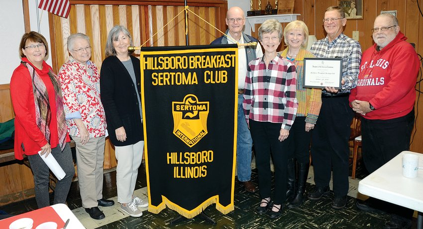Members of the Christiana Tillson chapter of the Daughters of the American Revolution presented the DAR Community Service Award to the Hillsboro Sertoma Club on Tuesday morning, Oct. 29, at the Hillsboro Moose Lodge. Pictured above, from the left are Anne McLaughlin, Carolyn Cerven, Carol Calvert, Bob Fuehne, Myra Dagon, Patty Whitworth, Allan Spelbring and Ron Deabenderfer.
