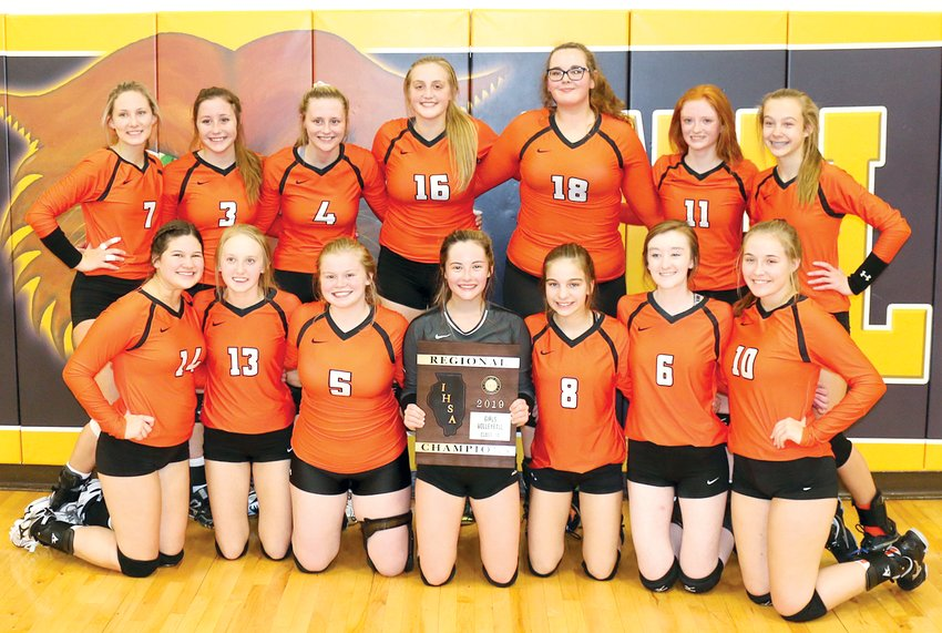 The Lincolnwood High School volleyball team won their 15th regional and third in the last five years on Thursday, Oct. 31, as they defeated Morrisonville 25-7, 26-24 at the Mt. Olive Regional. Team members, in front, from the left, are Desi Pitchford, Haelee Damm, Kyra Shull, Lexie Millburg, Jasmine Vickery, Jayden Kuchar and Marisa Webb. In the back row are Maggie McClelland, Cassie Krager, Madison Krager, Katelyn Payne, Kasandra Reif, Sidney Glick and Avery Pope.