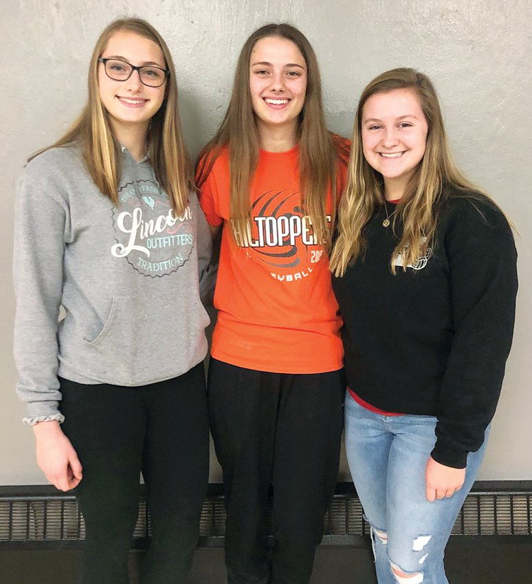 Three members of the Hillsboro High School volleyball team were selected as members of the 2019 South Central Conference all-conference teams. From the left are first team pick Kaci Papin, second team pick Kayli Ward and third team pick Chloe Beck.