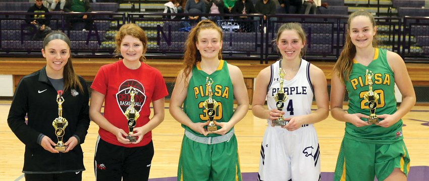 Six players were named to the 2019 Litchfield Thanksgiving Tournament all-tournament team following the final game on Saturday, Nov. 30, including two from Montgomery County. From the left are Hollie Bekeske of Staunton, Macee Eisenbarth of Nokomis, Rylee Smith of Southwestern, Emily Senjan of Litchfield and the tournament MVP, Korrie Hopkins of Southwestern. Also selected, but not present for the photo was Molly Diekemper of Carlyle.