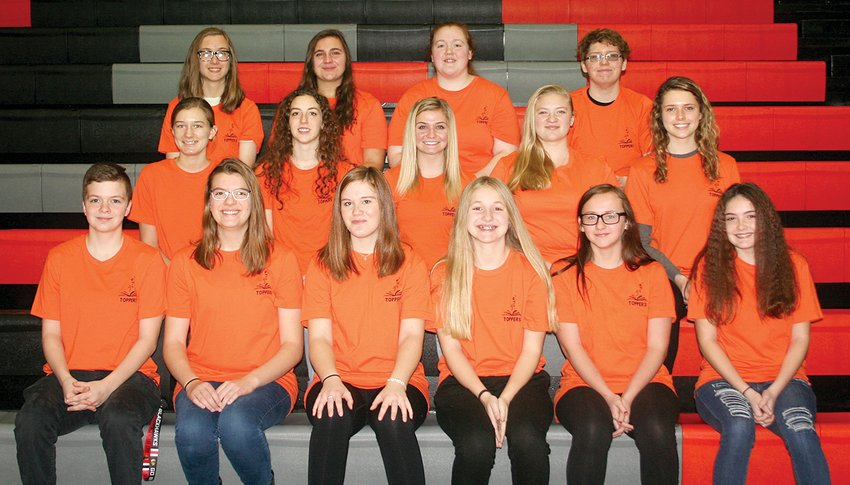 In front, from the left, are Kelsey Holtgrave, Sarah Huber, Alexandra Kuhns, Emily Maguire, Makynna Hopley and Kaley Lablance. In the second row, from the left, are Avery Smith, Brook Ozier, Ally DeVore, Ella Pfeifer and Emilee Roemelin. In the third row, from the left, are Alexander Sticha, Allie Jackson, Rylee Morford and Taitt Estes.