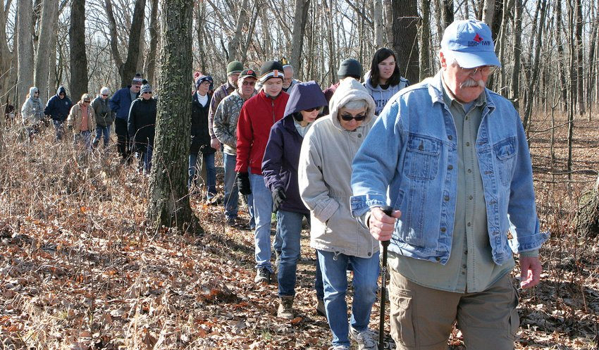 Jerry Prater, right, along with Don Krefft led a New Year's hike along Timber Trail and Pipeline trail at Bremer Sanctuary.  Nancy Redman led another group.
