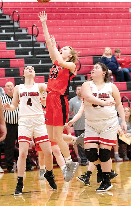 Lincolnwood's Haelee Damm goes up for a shot during the Lady Lancers' regional game in Nokomis on Monday, Jan. 10. Damm would lead the Lancers with 11 points in their season finale, a 50-27 loss to Sandoval.