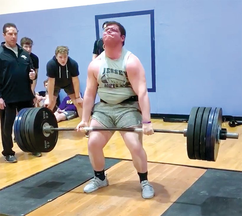 Litchfield senior Austin DeWitt successfully lifts 500 pounds in the deadlift event at the Panther Power Meet in Jerseyville on Feb. 29. DeWitt would finish second overall in the heavyweight division, joining a pair of competitors from Sacred Heart-Griffin High School in the top three.