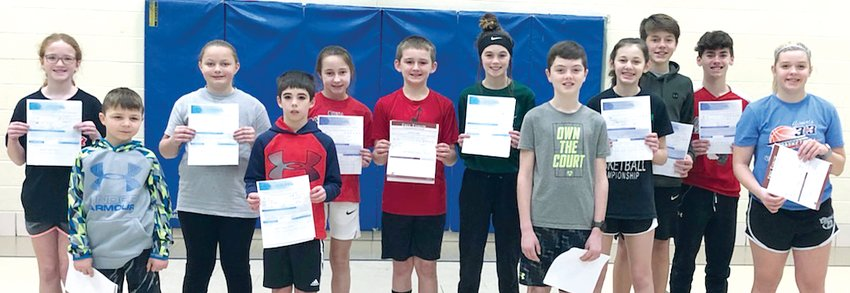 Twelve boys and girls, ages 9-14, were crowned district champions of the 2020 Knights of Columbus Free Throw Championship held at the St. Louis Catholic School Parish Center in Nokomis on Saturday, Feb. 29. Champions, from the left are Kaya Conner, Maddix Hires, Albany Kindernay, Owen Fuller, Camryn Engelman, Bryce Coalson, Kearstynn Davis, Jackson Tuetken, Ella Greenwood, Kennedy Dewerff, Austin Thorton and Kyra Kircher.
