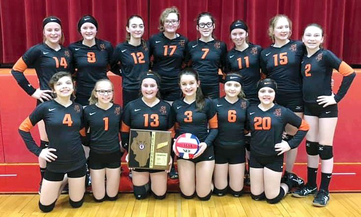 For the second straight year and ninth time since 1992, the Lincolnwood seventh grade volleyball team is headed to the IESA State Tournament. In front, from the left, are Ellie Nudo, Kirsten Pope, Ashlyn Millburg, Morgan Hampton, Taryn Love and Kinley Morris. In the back row are Kennady Clayton, Morgan Cowdrey, Jazmin Seaton-Hobson, Ava Reif, Kierstyn Denney, Carly Armentrout, Audrey Germann and Braylin Crawford. The Lady Knights (27-0), who defeated Springfield Christian 25-11, 25-9 in the sectional in Nokomis on March 9, will play Kewanee Wethersfield (24-3) at 8:15 p.m. in Pawnee on Friday, March 13, in their opening game at state.