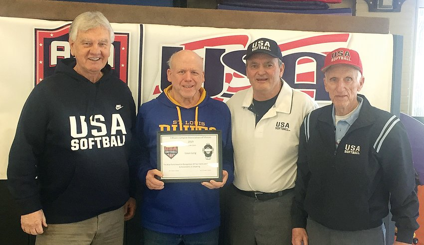 Coffeen official Louis Lang was recognized with the Blue Rock Award by the 3 Rivers Softball Association of Illinois during a meeting hosted by the group on Saturday, Feb. 29. Pictured above are Paul Tomazzoli, USA Softball of Illinois Umpire in Chief; Lang; Glen Vetter, Illinois Deputy Umpire in Chief; and Charles Carlson, who was Illinois Deputy Umpire in Chief for 13 years.