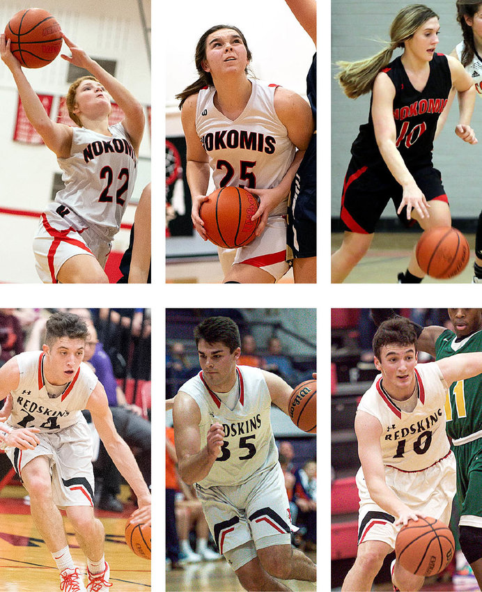 Six Nokomis basketball players were named to the Prairie State All-Conference basketball teams. Clockwise, from the top left, are Macee Eisenbarth, Audrey Sabol, Mia Fesser, Evan Herpstreith, Carter Sabol and Alex Tosetti.