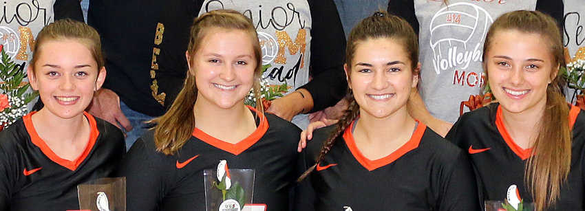 This year's seniors, from the left, Rylee Schmollinger, Chloe Beck, Emily Reynolds and Kayli Ward, have been around for the resurgence of Hillsboro volleyball over the last several years. The class of 2020 finished their careers with 78 wins, the most in a four-year span since the Lady Hiltoppers won 79 between 1995 and 1998.