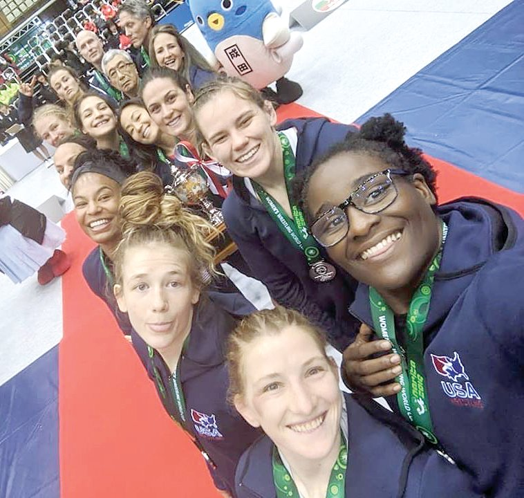 Litchfield High School graduate Victoria Francis (back row, second from right) had hopes to see her teammates from the U.S. national wrestling team in State College, PA, this coming weekend, but the Covid-19 pandemic forced the cancellation of the U.S. Wrestling Olympic Trials on April 4-5. A few days after the trials were postponed, the Olympic Committee did the same to the 2020 Tokyo Olympics, pushing them back to 2021.