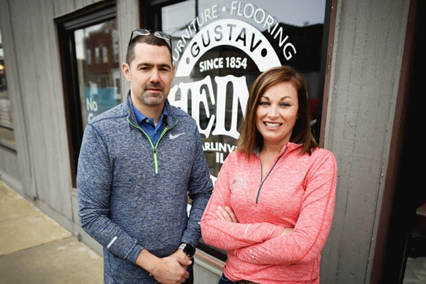 Heinz Furniture in Carlinville is expanding their business by offering kitchen and bath designs and more. Pictured above are Greg Whitler and Katie Jackson.