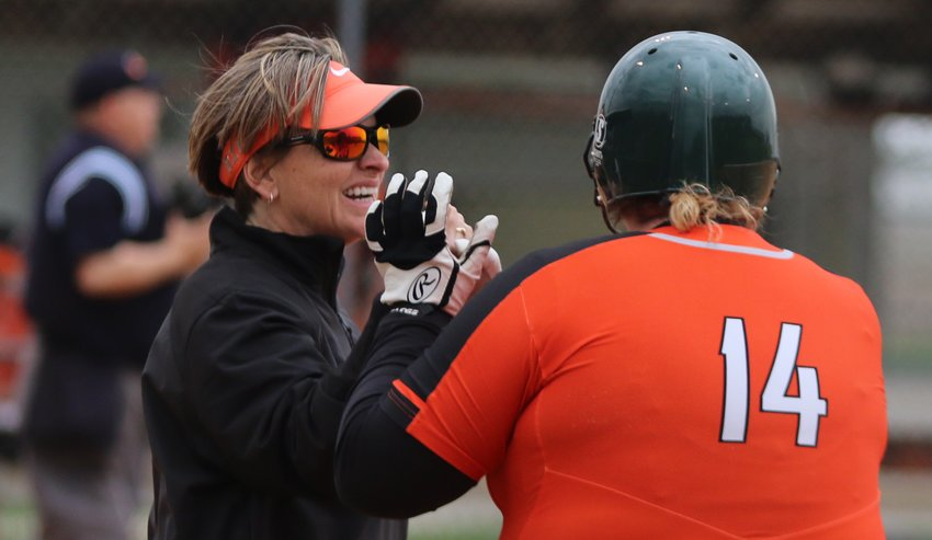 Assistant Coach Lisa Lomprez, shown here with 2019 Hillsboro grad Jaylynn Milanos last season, and the rest of the Lady Hiltopper softball staff have tried to keep morale up during the COVID-19 pandemic, which has forced the cancellation of all games through April 30 so far.