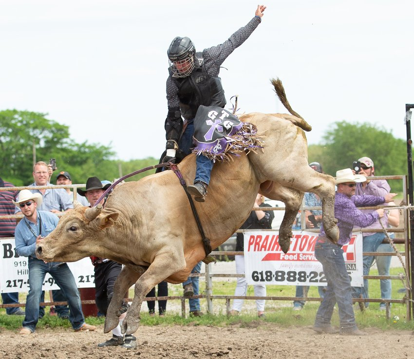 Dominic Ruppert's passion for bull riding has only grown since he first connected with the sport as a junior in high school six years ago. Ruppert, pictured during the Shop Creek Cattle Company's Gateway to Danger event in Raymond last summer, recently graduated from Kansas State University and plans to pursue a professional career in bull riding.