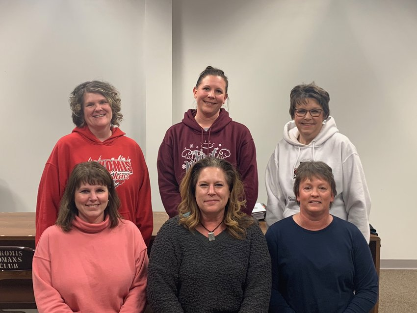 Prior to the shelter-in-place order, members of the Nokomis Athletic Club elected new officers and honored their retiring officers for their years of dedication. In front, from the left, are retiring officers Missy Keiser, Julie Knodle and Cheri Herpstreith. In the second row are new officers Sheila Keller, Amy Stolte and Jane Aumann.