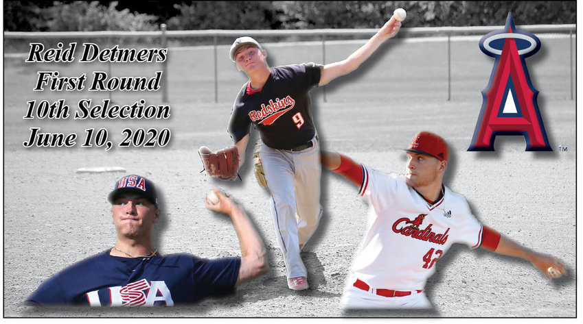He was a Brave, a Redskin, a Titan and a Cardinal. Now, Reid Detmers is a Angel. The University of Louisville junior, who grew up in Nokomis and played his first three years of high school ball for the Redskins before moving to Chatham, heard his name called in the first round of the Major League Baseball draft on Wednesday, June 10, as the tenth overall pick by the Los Angeles Angels. The son of Kris and Erica Detmers, Detmers was selected in the 32nd round by Atlanta in the 2017, but was firmly committed to playing at Louisville. A first team All-American this year, Detmers is the second member of his family to be drafted twice, with his father being a 32nd round pick by the Chicago White Sox in 1992 and a 22nd round pick by the St. Louis Cardinals in 1993, which led to a seven-year professional baseball career that saw him rise to Triple A Memphis in 1999.