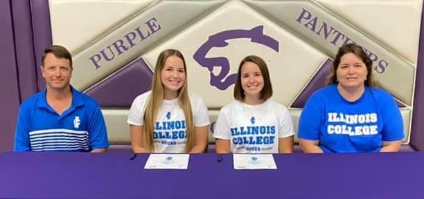 On Thursday, June 11, sisters Jordan Morgan and Devan Morgan, pictured with their parents, Robin and DJ Morgan of Litchfield, signed their letters of intent to play soccer for Illinois College this fall. While the twins weren't planning to attend the same college initially, both were glad that the stars aligned and they were able to continue their college careers together.