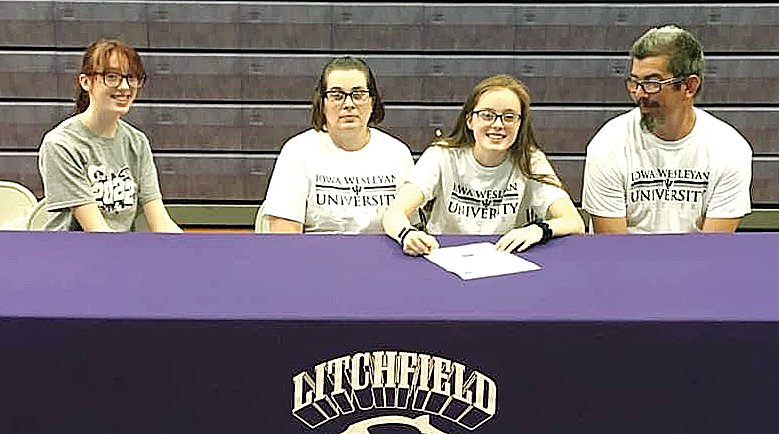 Recent Litchfield High School graduate Abby Roberts was joined by her family as she signed to play soccer for Illinois Wesleyan University this fall. Pictured above, from the left are Suzanna Roberts, Faith Johns, Abby Roberts and Jeremy Johns.