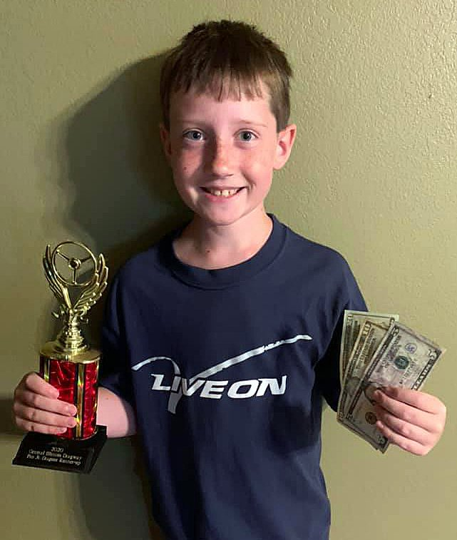 Timothy Hearn of Litchfield picked up a second place trophy and some spending money in the junior dragster division on Friday, July 17, at Central Illinois Dragway in Havana.