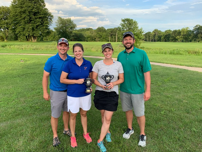 The team of Josh and Ashley Billington and Lauren and Michael Fuller (pictured above) took first in the Roy L. Hertel Foundation for Better Communities Golf Tournament, held on Sunday, Aug. 2, at Indian Springs Golf Course. The foursome won the 24-team tournament on a scorecard playoff after tying the second place team of Nathan McDice, Doug Graham, Steve Poffinbarger and Wyatt Pence.