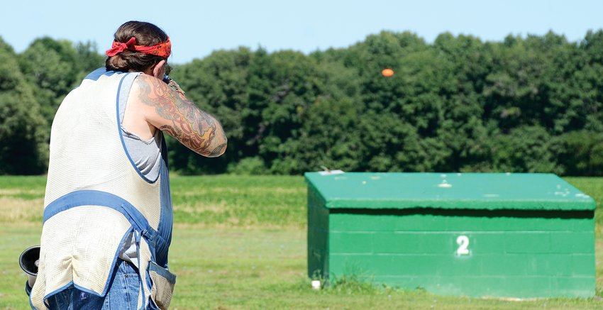 Kevin Prickett takes aim at a clay target during the Litchfield Sportsman's Club's 100 bird trap derby on Sunday, Aug. 16. Prickett is the vice president of the club, which has more than 200 members from throughout the area.