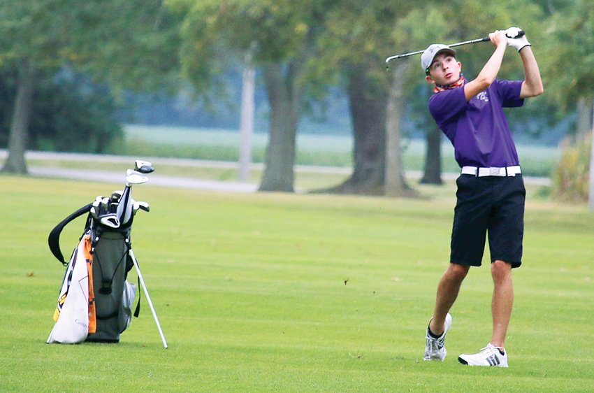 Despite a steady rain, Litchfield senior Cam Frerichs shot a 47 to help the Purple Panthers defeat Lincolnwood and Taylorville on Tuesday, Sept. 1, at the Litchfield Country Club. The wins improved Litchfield's record to 6-1.