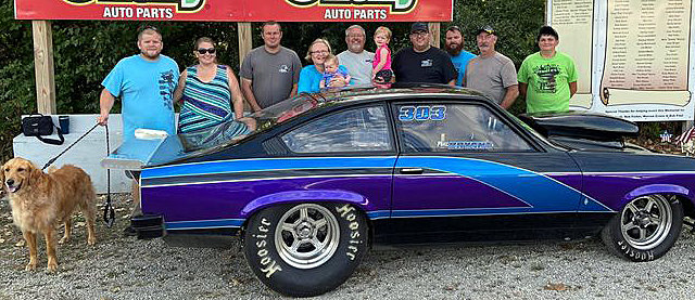 It was a good weekend at the Coles County Dragway for Phil Bryant as the veteran drag racer picked up a pair of wins on Sunday, Aug. 30, in Charleston. Pictured above, from the left, are Randy and Sarah Weller (with Tucker), Dustin Bryant, Sharon Bryant, holding Camryn Weller, Phil Bryant, holding Hadley Weller, Corey Wood, Robert Lee, Roger Burdell and Kenden Longwell.