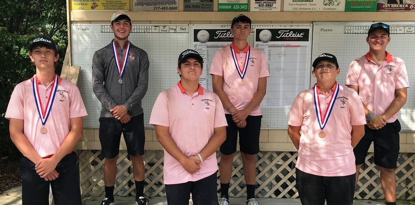 For the fourth consecutive year, the Lincolnwood boys golf team took first in the MSM Conference Tournament, held this year at Edgewood Golf Club in Auburn on Sept. 9. From the left are Braxton Schmedeke, Devin Brown, Michael Graham, Michael Jones, Nate Brockmeyer and Will Jenkins.