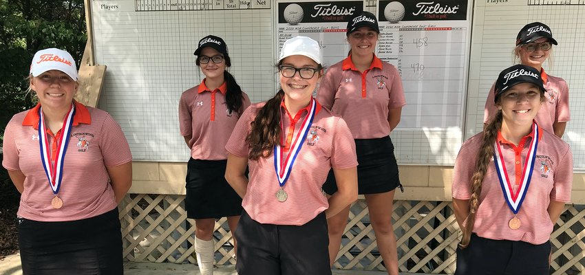 The Lincolnwood girls golf team put three players on the all-conference team at this year's MSM Conference tournament, held Wednesday, Sept. 9, at Edgewood Golf Club in Auburn. From the left are Jordyn Gerlach, Shelby Hattenbach, Dorie Krager, Marisa Webb, Micah Gehlbach and Jhia Walker. Gerlach, Krager and Gehlbach all earned all-conference honors as the Lancers shot a 470 to finish second to South County by 12 strokes.