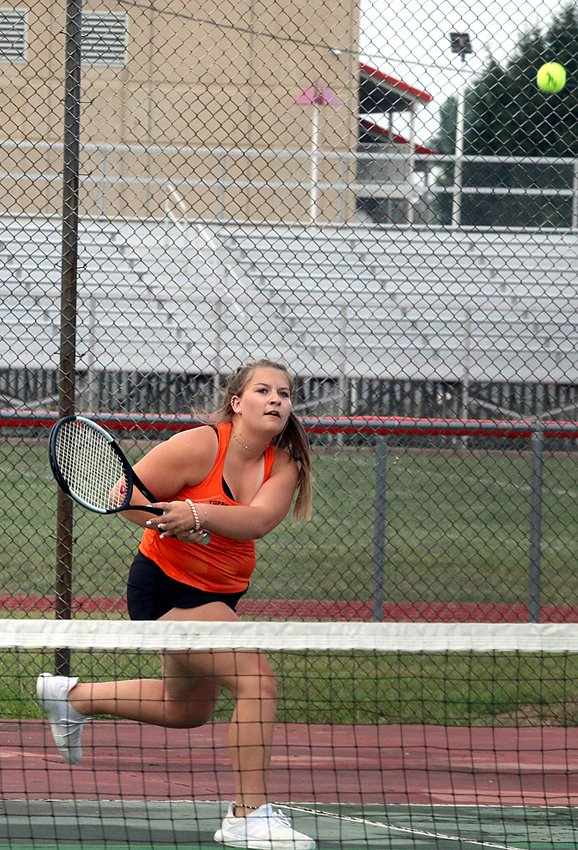Paige Lucykow played a part in two of Hillsboro's five wins on Thursday, Sept. 10, as the Lady Hiltoppers defeated Vandalia 5-4 for their first victory of the season. Lucykow defeated Angelica Ferranto 4-6, 6-2, 10-8 in her number three singles match, then teamed up with Sally Matson to win the number two doubles match over Gracie Philpot and Samantha Rittis 8-3.