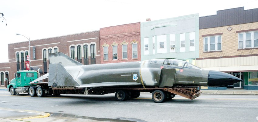 For the last three years, Mark Hoehn's reconstructed F4 Phantom had been on display outside of Witt, but the Vietnam War era fighter jet made a short trip through downtown Nokomis on Saturday, Sept. 12. In honor of Hoehn, who passed away in Aug. 2019, the plane was donated to the Nokomis Memorial Park and will be on display with the park's other military pieces, a M3A3 tank and a French 75 cannon.