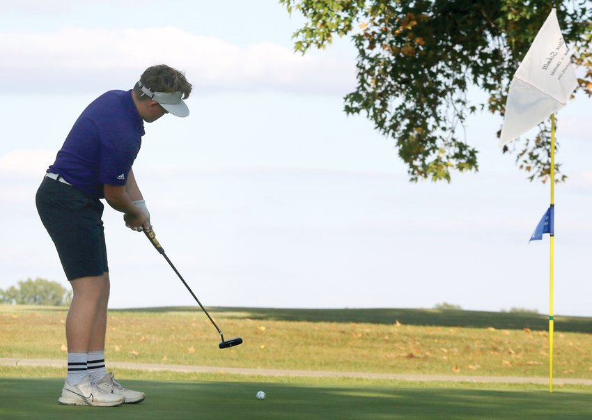 For the second time this season, Tug Schwab was under par for his round as the Litchfield High School freshman carded a 1-under-par 35 on Thursday, Sept. 24. The round helped the Panthers come away with wins over Staunton and Greenville at the Greenville Country Club as they improved to 18-4 on the season.