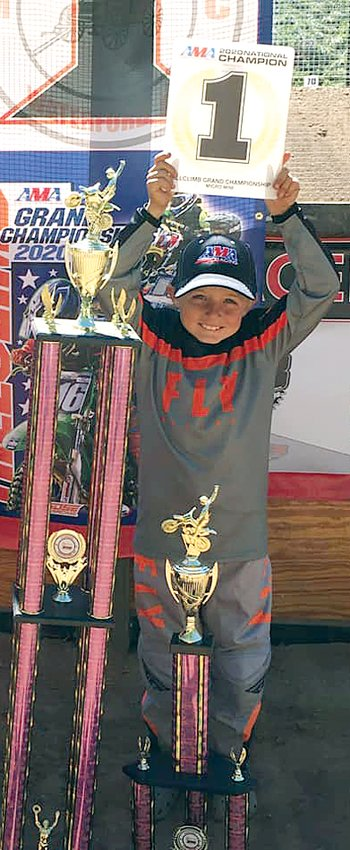 Cam Bone, the nine-year-old son of Mac and Stacey Bone of Litchfield, took first place overall in the Micro Mini division at the AMA Hillclimb Grand Nationals, hosted by the Pioneer Motorcycle Club in Waterford, OH on Sept. 18-20.